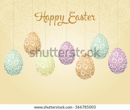 Retro Easter background with eggs - stock vector