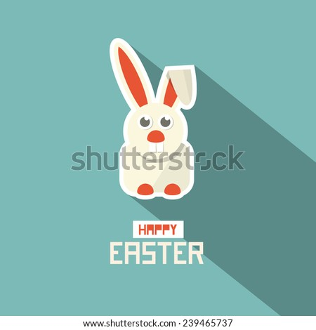 Retro Easter Paper Flat Design Bunny Vector Illustration - stock vector