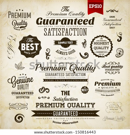 Retro elements collection for calligraphic designs | Vintage ornaments | Premium Quality labels | Guaranteed and Genuine labels | eps10 vector set - stock vector