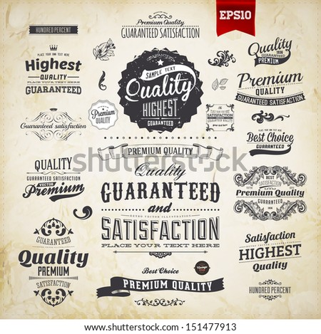 Retro elements collection for calligraphic designs | Vintage ornaments | Premium Quality labels | Guaranteed Satisfaction and Genuine Quality labels | eps10 vector set - stock vector