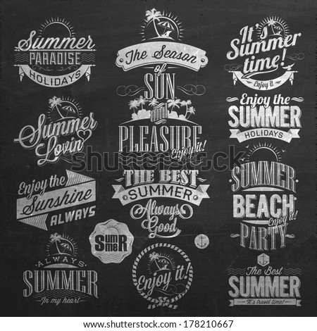 Retro Elements for Summer Calligraphic Designs On Chalkboard | Vintage ornaments | All for Summer holidays | tropical paradise, sunshine, weekend tour, beach vacation, adventure labels | vector Set - stock vector