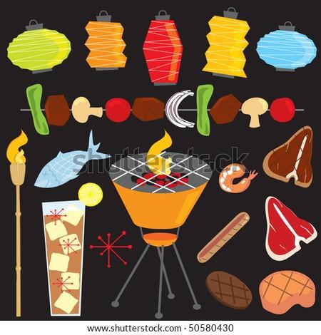 Retro Evening Barbeque Party - stock vector