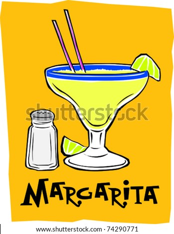 Retro Exotic Mexican Margarita Cocktail Drink Vector Illustration - stock vector