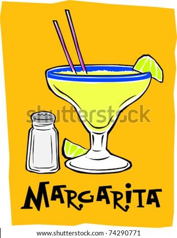 Retro Exotic Mexican Margarita Cocktail Drink Vector Illustration - stock vector