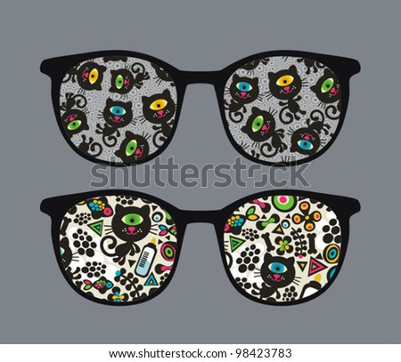 Retro eyeglasses with black cats reflection in it. Vector illustration of accessory -  isolated sunglasses. - stock vector