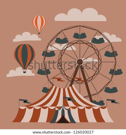 Retro fair picture. Vector image. - stock vector