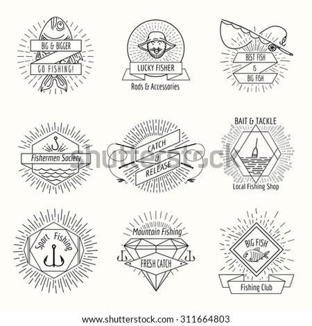 Retro fishing logo or labels set. Fisher and fisherman, badge and stamp, vector illustration - stock vector