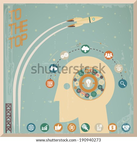 Retro Flat Design Businessman Head Thought Idea Generation Gear Wheel Icons Space Background Vector Illustration - stock vector