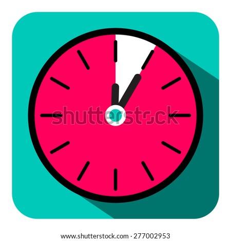 Retro Flat Design Clock - Five Minutes Stop Watch Vector Illustration - stock vector