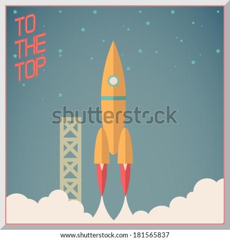 Retro Flat Design Rocket Start Space Stars Background Vector Illustration - stock vector