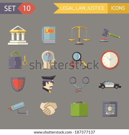 Retro Flat Law Legal Justice Icons and Symbols Set Vector Illustration - stock vector