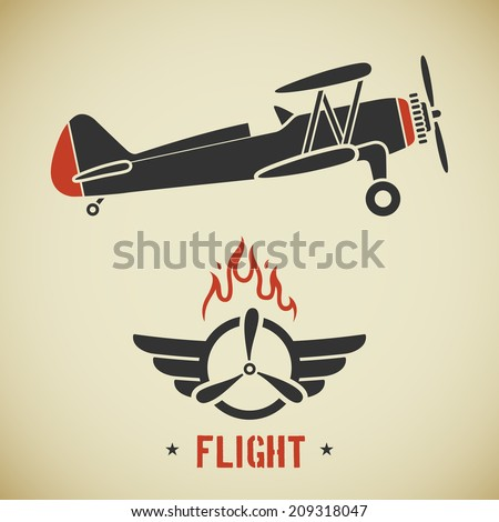 Retro flat looking plane and emblem with wings, flame and propeller - stock vector