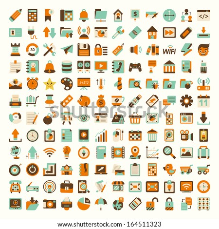 Retro flat network icon set - stock vector