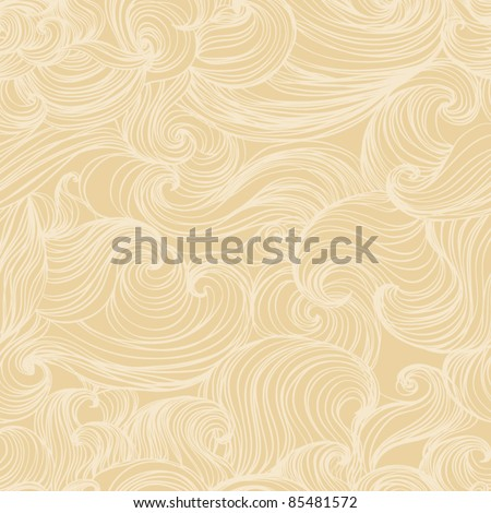 Retro floral background  seamless abstract  pattern, waves background - stock vector