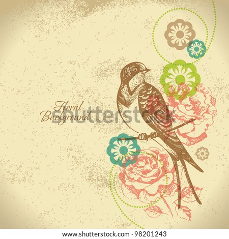 Retro floral background with bird - stock vector