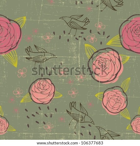 retro floral pattern with roses and birds - stock vector