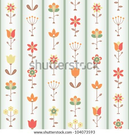 Retro Flower Seamless pattern. EPS 8 vector illustration. - stock vector