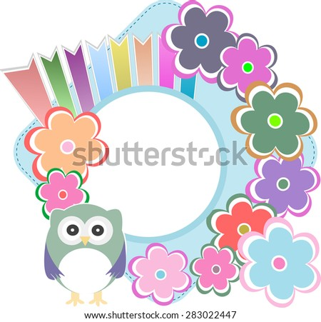retro flowers and owl kids illustration background pattern vector - stock vector