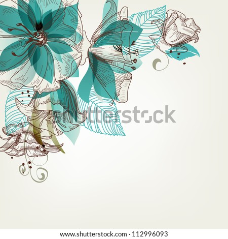 Retro flowers vector illustration - stock vector