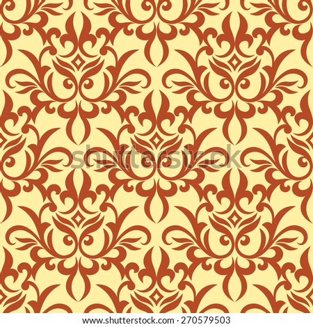 Retro foliage orange damask e seamless pattern with curly flowers on yellow background for wallpaper or carpet design - stock vector