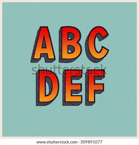 Retro Font with Halftone Dots. Vector Grunge Alphabet from A to F - stock vector