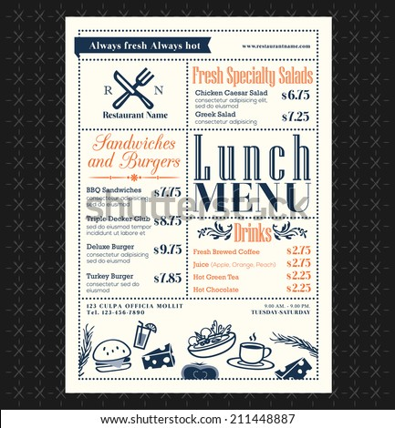 Retro Frame restaurant lunch menu design layout - stock vector