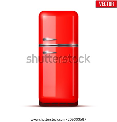 Retro Fridge refrigerator in red retro color. Household appliances. Vector isolated on white background - stock vector