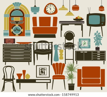 Retro Furniture, Accessories and Appliances, including diner-style settee, jukebox, TV set, wall and alarm clocks, and pub chairs, dining, coffee tables and various accessories  - stock vector