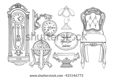 Retro furniture set. Hand drawn antiquarian object collection for interior. Living Room Furniture Home Interior Design - stock vector