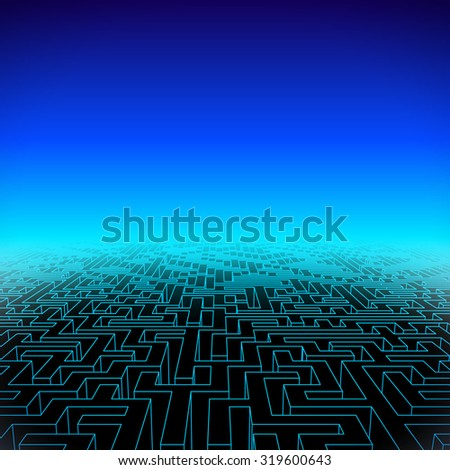 Retro gaming hipster neon landscape with blue labyrinth - stock vector