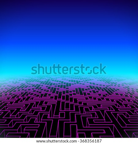 Retro gaming hipster neon landscape with purple edge labyrinth - stock vector