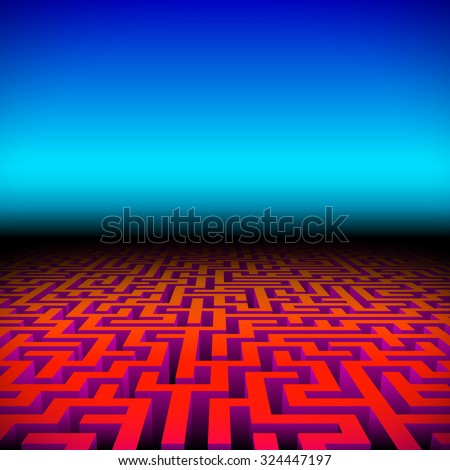 Retro gaming hipster neon landscape with red labyrinth - stock vector