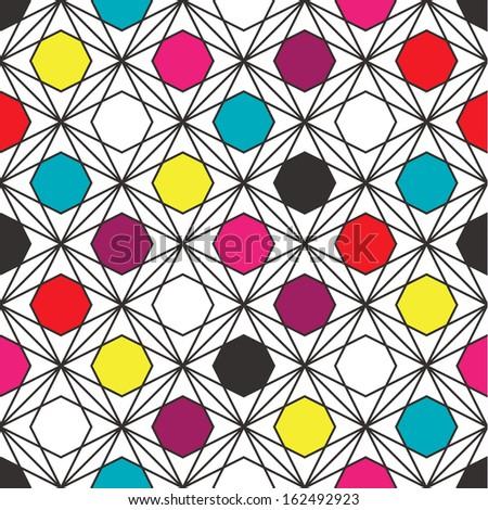 Retro Geometric Hexagon Pattern - stock vector