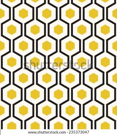 Retro geometric hexagon seamless pattern. - stock vector