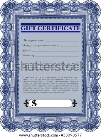 Retro Gift Certificate. Customizable, Easy to edit and change colors. Good design. With background.  - stock vector