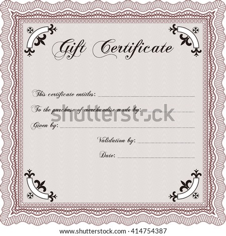 Retro Gift Certificate. Customizable, Easy to edit and change colors. With background. Good design.  - stock vector