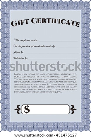 Retro Gift Certificate. With background. Good design. Customizable, Easy to edit and change colors.  - stock vector