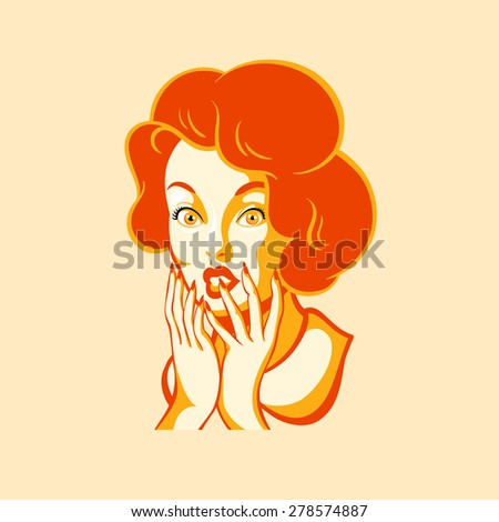 Retro girl face with ooh emotion - stock vector