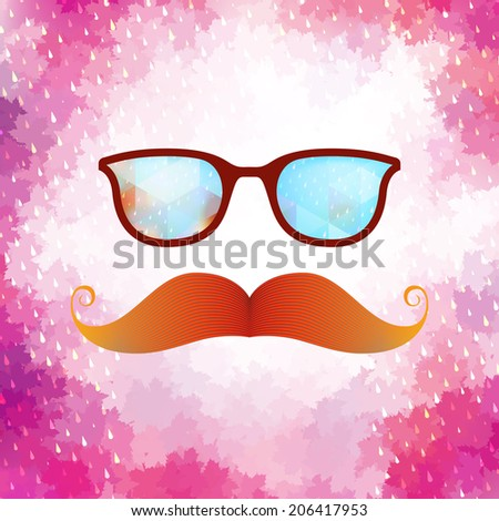 Retro glasses with reflection, Geometric shapes and rain.  - stock vector
