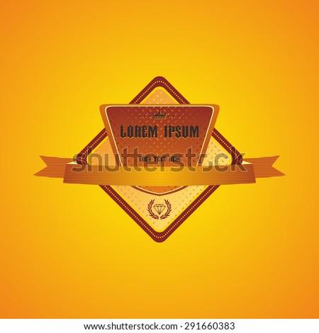 retro gold exclusive label - stock vector