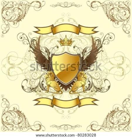 Retro golden emblem - stock vector