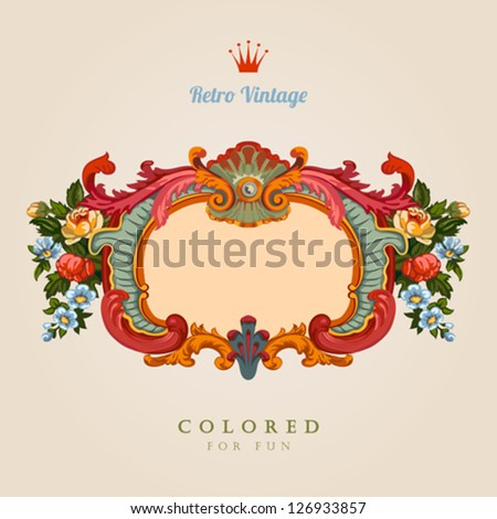 Retro Greeting card. Colorful Vector Template Floral Vintage frame. Ultra high detail. - stock vector