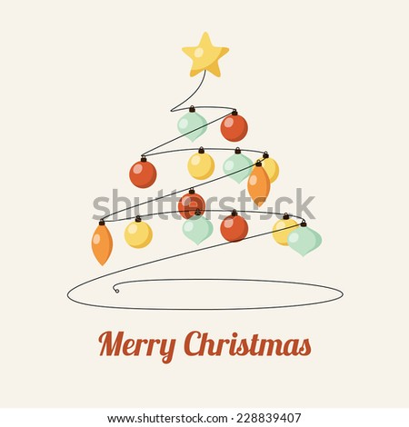 Retro greeting card with decorated christmas tree and balls, vector illustration background - stock vector