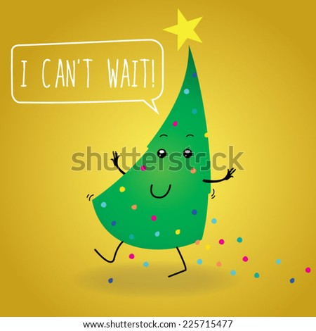 Retro greetings postcard. Speaking Christmas tree carving for holidays can't wait to open the presents and walks losing some christmas balls on a  yellow background - stock vector