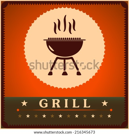 Retro Grill Menu Card Design template poster. - stock vector