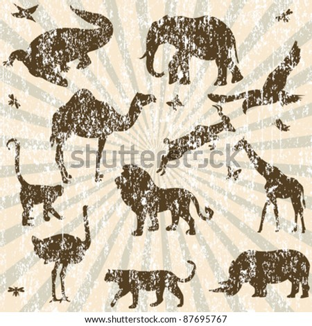 Retro grunge background with animals silhouettes - stock vector