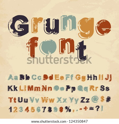Retro grunge font. Vector illustration. - stock vector
