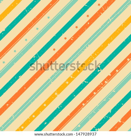 Retro grunge striped seamless pattern with tiny stars - stock vector