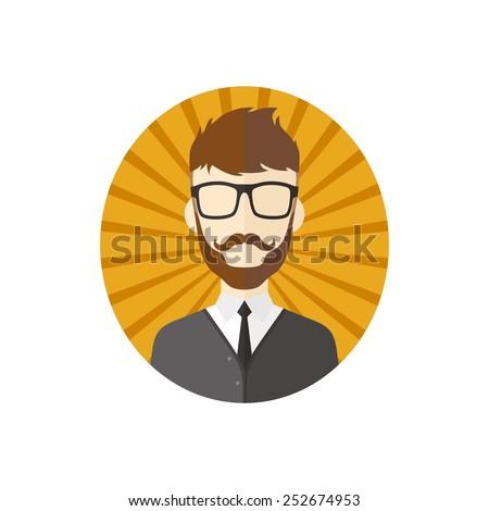 retro guy - hipster man cartoon - stock vector