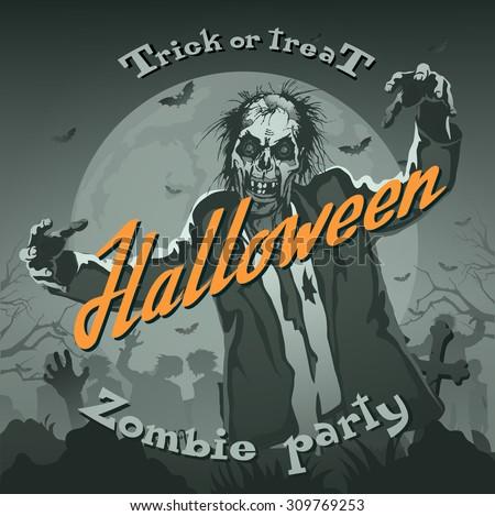 Retro halloween background with zombie - stock vector